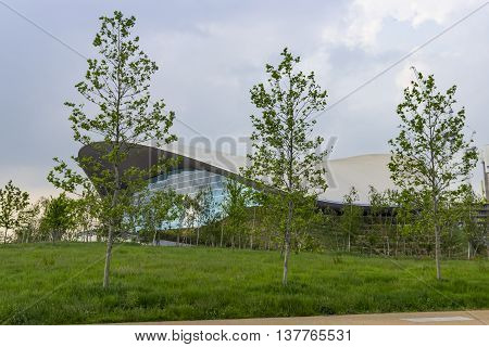 London England - May 27 2016: View of the London Aquatics Centre a former Olympics venue with pools for diving and swimming in the area of Stratford in London England.