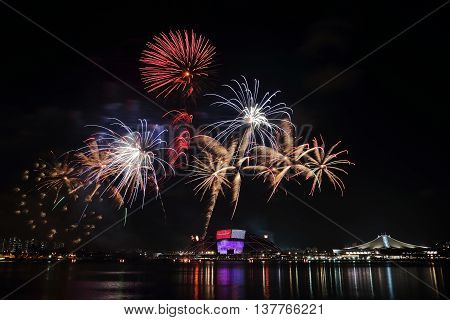 Fireworks celebrating Singapore's national day across the Kallang River