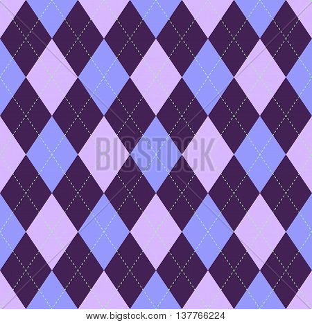 Seamless argyle pattern. Lattice of purple & pale violet on blue background with green stitch. Classic diamond check textile prints for jerseys, sweaters, jumpers, pants, socks, golf wear.