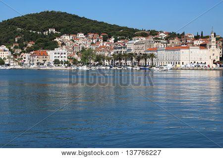 Promenade Riva and Marjan Hill of the city of Split on the Adriatic Sea a popular tourist destination Croatia