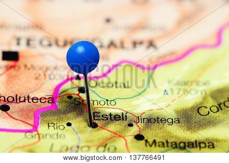 Esteli pinned on a map of Nicaragua