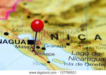 Jinotepe pinned on a map of Nicaragua