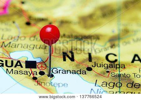 Granada pinned on a map of Nicaragua