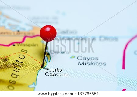 Puerto Cabezas pinned on a map of Nicaragua