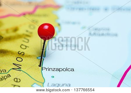 Prinzapolca pinned on a map of Nicaragua