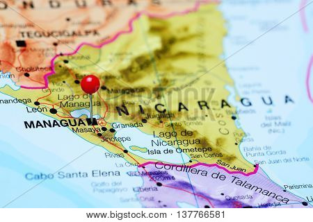 Managua pinned on a map of Nicaragua