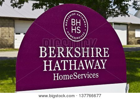 Lafayette IN - Circa July 2016: Berkshire Hathaway HomeServices Sign. HomeServices is subsidiary of Berkshire Hathaway Energy I