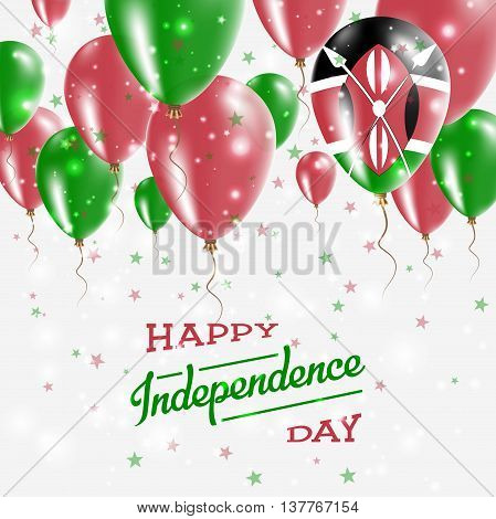 Kenya Vector Patriotic Poster. Independence Day Placard With Bright Colorful Balloons Of Country Nat