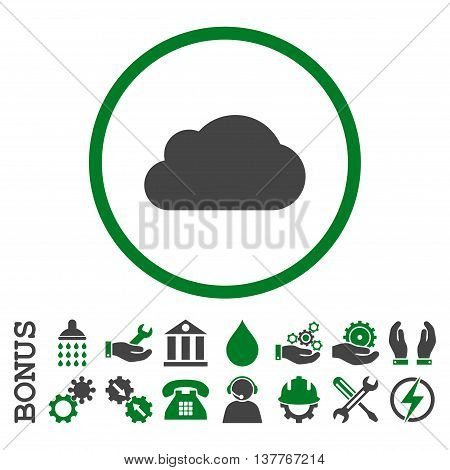 Cloud glyph bicolor icon. Image style is a flat pictogram symbol inside a circle, green and gray colors, white background. Bonus images are included.