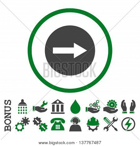 Right Rounded Arrow glyph bicolor icon. Image style is a flat pictogram symbol inside a circle, green and gray colors, white background. Bonus images are included.