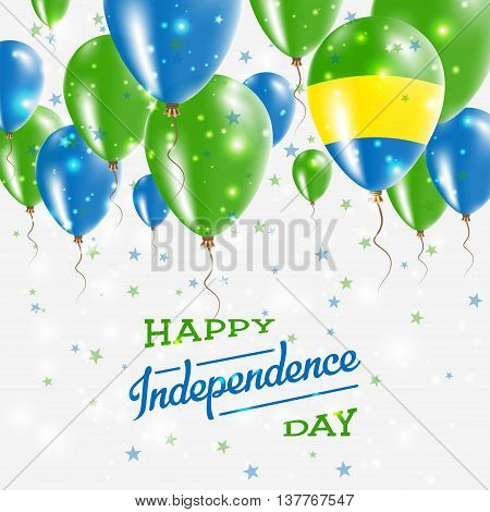 Gabon Vector Patriotic Poster. Independence Day Placard With Bright Colorful Balloons Of Country Nat