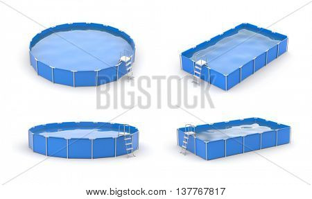 Swimming pool icon set. Blue pools.3d illustration