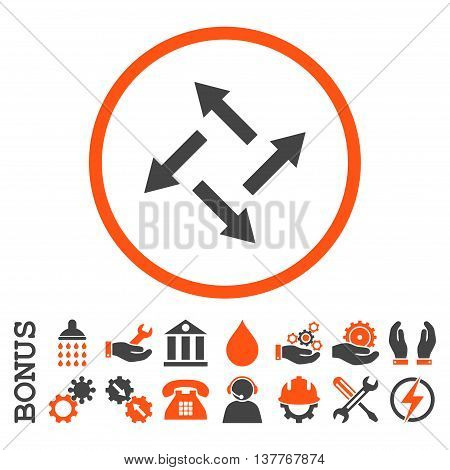 Centrifugal Arrows glyph bicolor icon. Image style is a flat pictogram symbol inside a circle, orange and gray colors, white background. Bonus images are included.