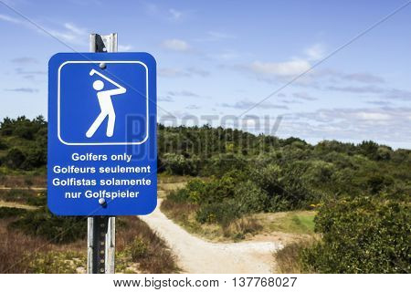 TRURO-SEPTEMBER 14: Golfers only sign near Truro lighthouse in Cape Cod , Massachussets, USA on September  14, 2014.