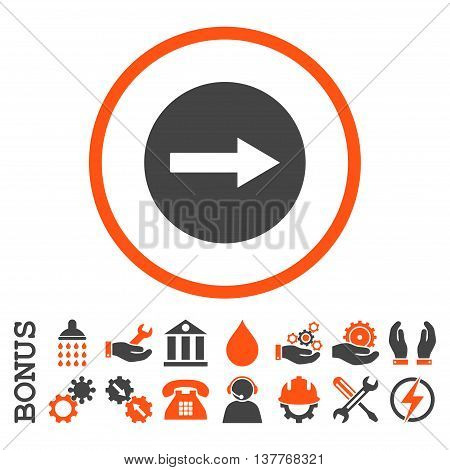 Right Rounded Arrow glyph bicolor icon. Image style is a flat pictogram symbol inside a circle, orange and gray colors, white background. Bonus images are included.