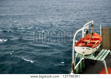 elevated view of rescue boat of a ship.