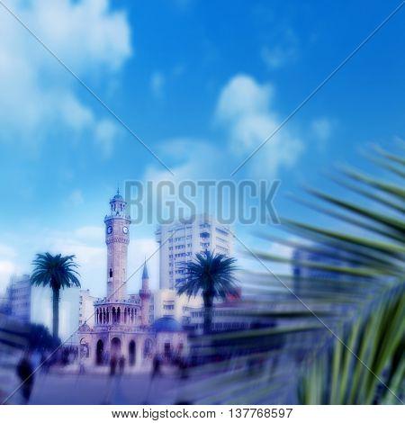 clock tower square in Izmir, Turkey
