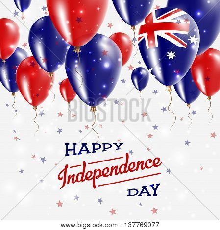 Australia Vector Patriotic Poster. Independence Day Placard With Bright Colorful Balloons Of Country