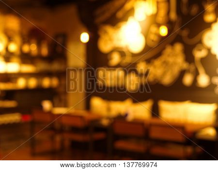 blur pub and resturant at night background