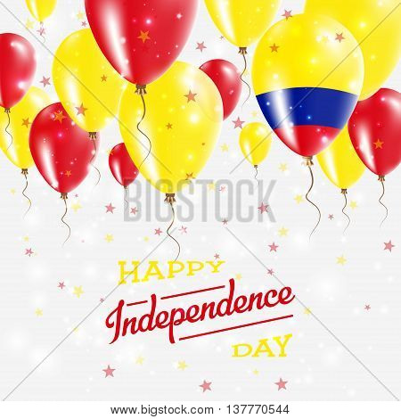 Colombia Vector Patriotic Poster. Independence Day Placard With Bright Colorful Balloons Of Country