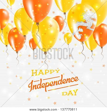 Bhutan Vector Patriotic Poster. Independence Day Placard With Bright Colorful Balloons Of Country Na
