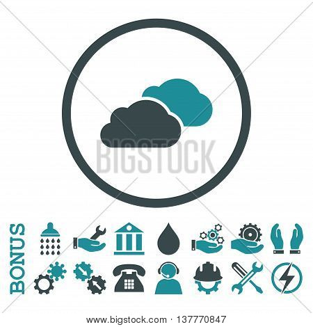 Clouds glyph bicolor icon. Image style is a flat pictogram symbol inside a circle, soft blue colors, white background. Bonus images are included.