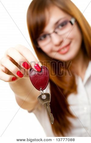 Businesswoman Showing Key