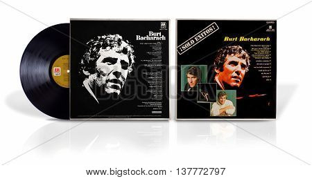 Rishon Le Zion, Israel - July 8, 2016:  Old vinyl album of American composer, songwriter, record producer, pianist, and singer Burt Bacharach. LP record Solo Exitos is compilation of 12 songs.