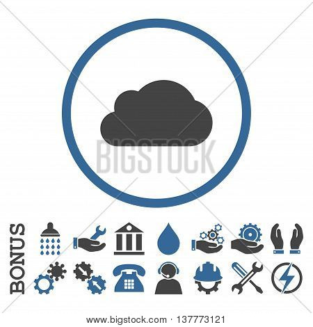 Cloud glyph bicolor icon. Image style is a flat pictogram symbol inside a circle, cobalt and gray colors, white background. Bonus images are included.