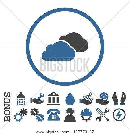 Clouds glyph bicolor icon. Image style is a flat pictogram symbol inside a circle, cobalt and gray colors, white background. Bonus images are included.