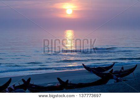 Nan boat mooring, seaside Tuy Phong, Hue, Vietnam. at the dawn