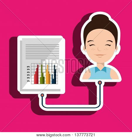woman with graphics isolated icon design, vector illustration  graphic