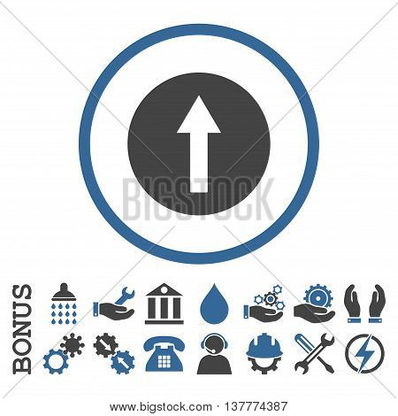 Up Rounded Arrow glyph bicolor icon. Image style is a flat pictogram symbol inside a circle, cobalt and gray colors, white background. Bonus images are included.
