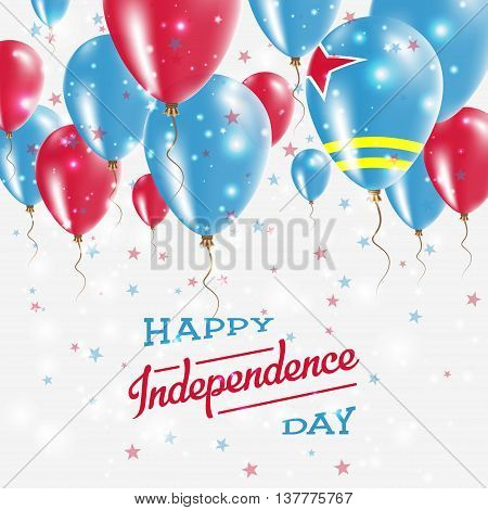 Aruba Vector Patriotic Poster. Independence Day Placard With Bright Colorful Balloons Of Country Nat