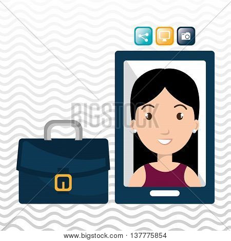 executive woman and cellphone isolated icon design, vector illustration  graphic