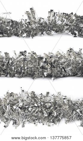 Line of a silver tinsel decorational Christmas garland isolated over the white background, set of three different foreshortenings