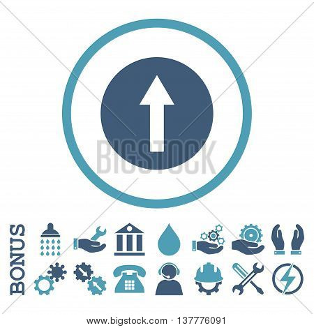Up Rounded Arrow glyph bicolor icon. Image style is a flat pictogram symbol inside a circle, cyan and blue colors, white background. Bonus images are included.