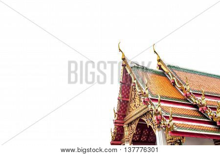Temple roof of thailand isolated on white background