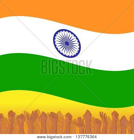 India Independence day. Vector background with Indian national flag, deep saffron, white and green colors. 15th of august design element with Dharma wheel. Crowd of indian people with raised hands