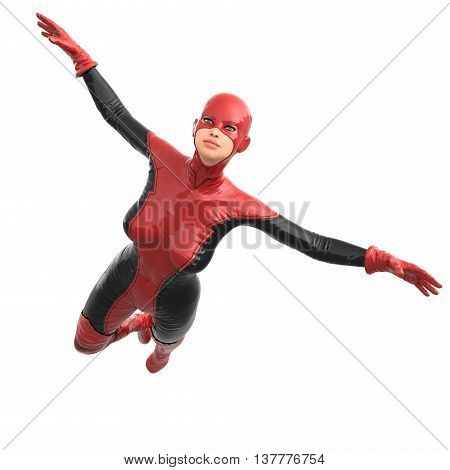 one tall woman in red black super suit. Flying to camera with open hands. 3D rendering, 3D illustration