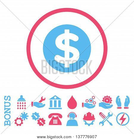 Finance glyph bicolor icon. Image style is a flat pictogram symbol inside a circle, pink and blue colors, white background. Bonus images are included.