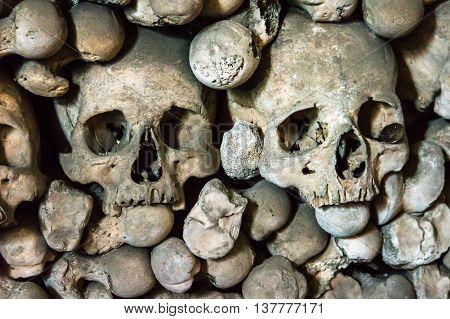 Skulls And Bones In The Bone Church In Kutna Hora
