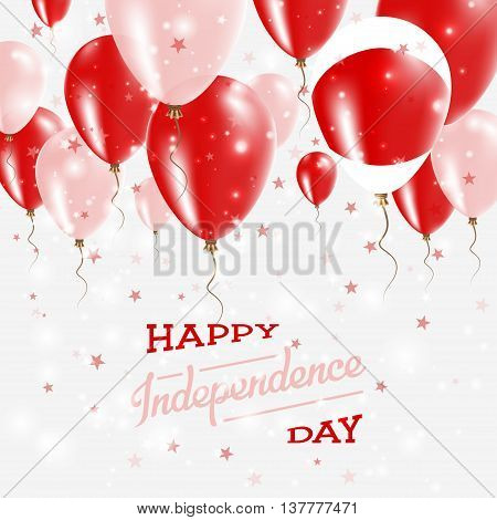 Japan Vector Patriotic Poster. Independence Day Placard With Bright Colorful Balloons Of Country Nat