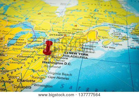 Red Thumbtack In A Map, Pushpin Pointing At Washington D.c.