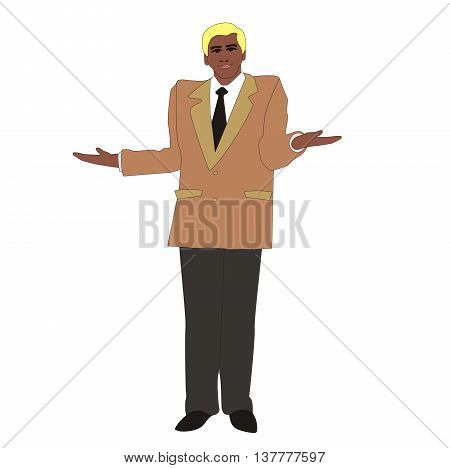 Illustration of a respectable man shrugs his shoulders isolated on white background