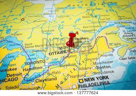 Red Thumbtack In A Map, Pushpin Pointing At Ottawa