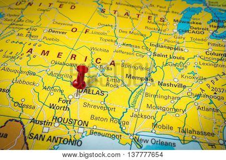 Red Thumbtack In A Map, Pushpin Pointing At Dallas