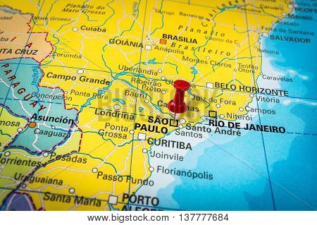 Red Thumbtack In A Map, Pushpin Pointing At Sao Paulo