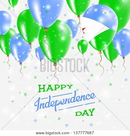 Djibouti Vector Patriotic Poster. Independence Day Placard With Bright Colorful Balloons Of Country