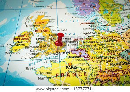 Red Thumbtack In A Map, Pushpin Pointing At London